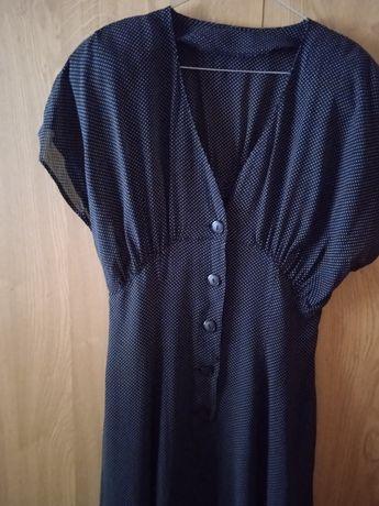Sukienka czarna w białe kropeczki z krótkim rękawem