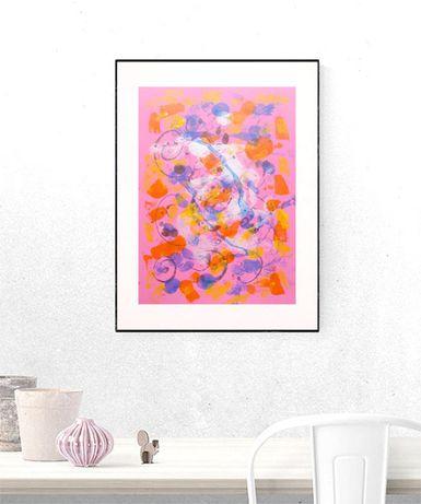 różowa abstrakcja, abstrakcyjny rysunek, grafika sypialnia, minimaliz