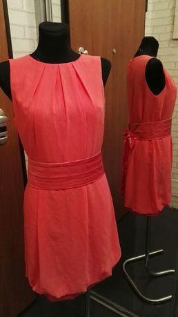 Koralowa Sukienka ciążowa oversize, taśma podkreślająca brzuszek