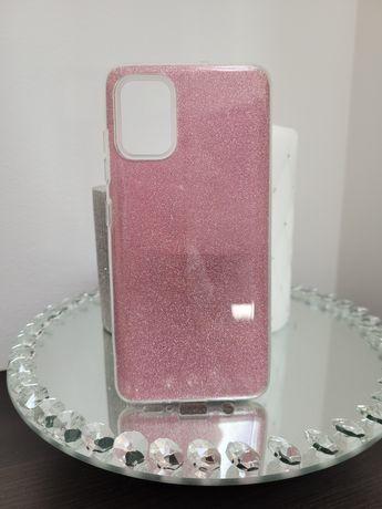 Etui tył Samsung A51 brokat różowe