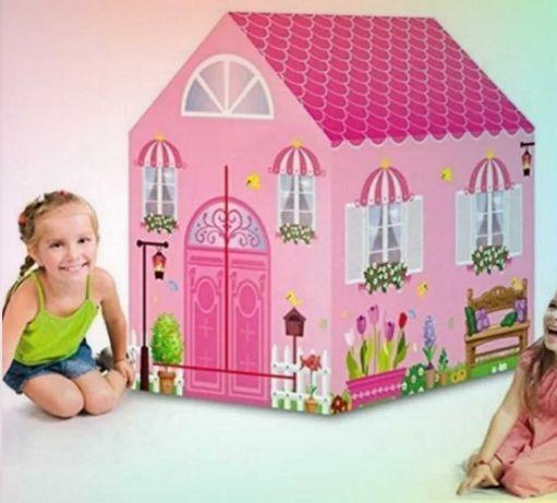 Раскладная компактная игровая детская палатка розовый домик принцессам
