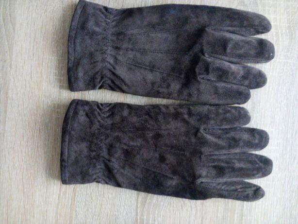 Rękawce ocieplane skóra zamszowa