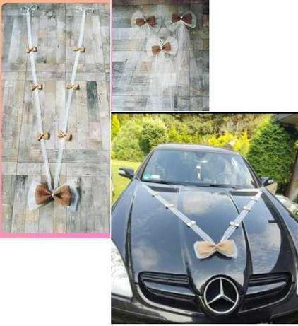 Dekoracja ślubna na samochód ślub boho rustykalna