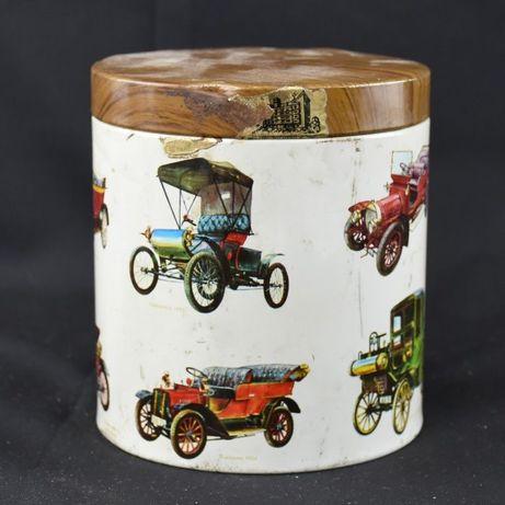 Caixa redonda em metal de Caramelos Tompola, decoração carros antigos