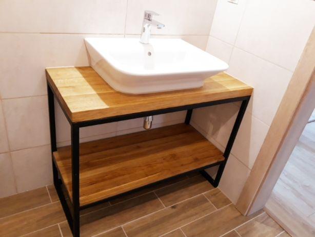 Konsola loft, dębowa szafka pod umywalkę, lite drewno