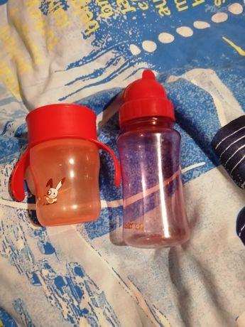 Чашка-непроливайка Avent и бутылочка