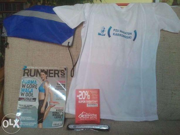 Zestaw dla biegacza: koszulka, worek, odblask z diodą, Runner's World
