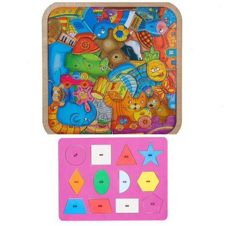 Пазл-головоломка Игрушки. Рамка вкладыш Геометрия смайл декор