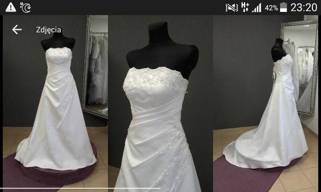Suknia ślubna satynowa biała cyrkony ogon lub bez wygodna