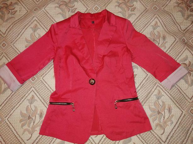 Пиджак, рукав 3/4, кораловый цвет, красный, на одной пуговице,