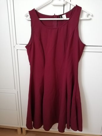 Bordowa krótka sukienka H&M