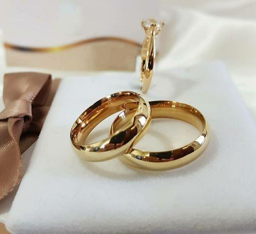 Pełna Elegancji Klasyczna Para Złotych Obrączek Ślubnych
