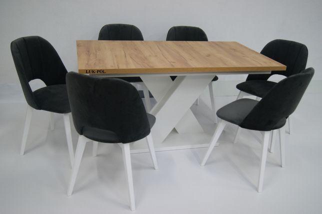 HIT! Nowoczesny Zestaw Stół X + 4 Krzesła Maja SUPER OFERTA!