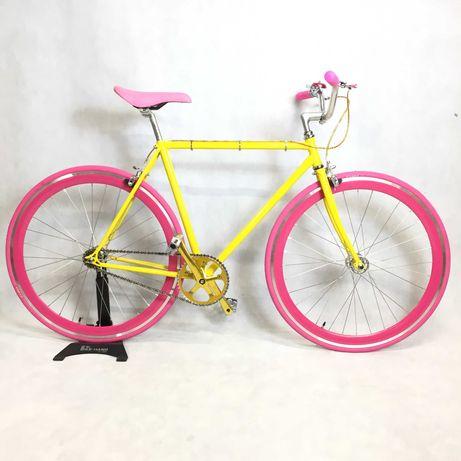 Rower ADIOS RE Single speed miejski zółto różowy BALUMA