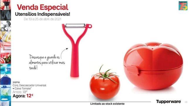 Conj. Descascador Universal + Caixa do Tomate Tupperware