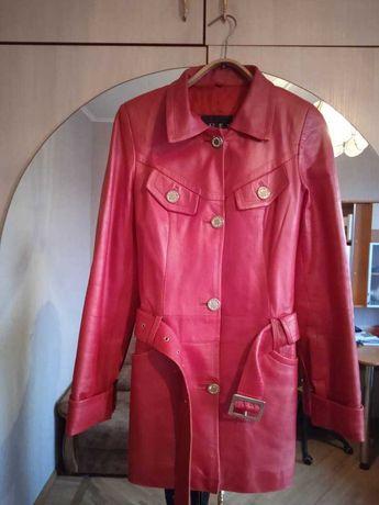 Кожаное пальто плащ куртка отличное состояние размер 42 (S) демисезон