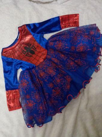 Карнавальное,новогоднее платье на девочку, человек паук, Спайдермен