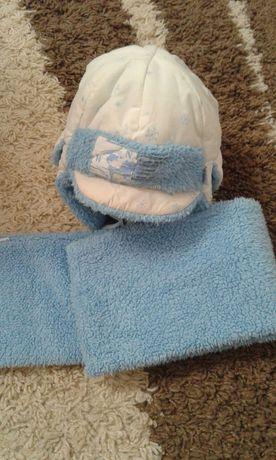 Зимняя шапка и шарфик на мальчика 44р.