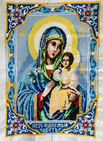 Икона Богородицы  «Неувядаемый цвет», вышивка крестиком