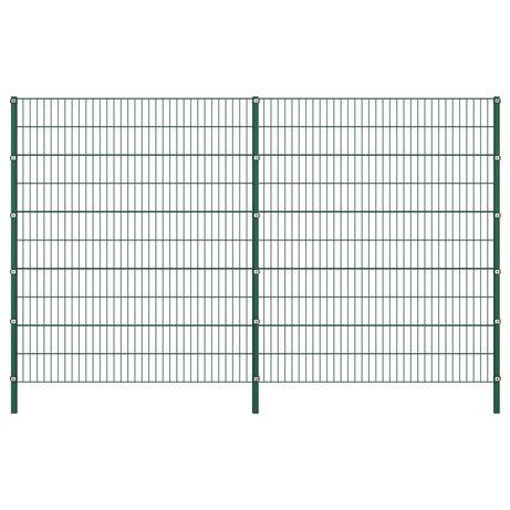 vidaXL Painel de vedação com postes ferro 3,4x2 m verde 278680