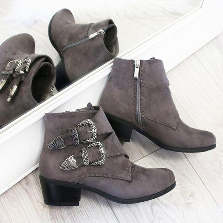 NOWE botki 38 szare buty damskie zamszowe jesienne zimowe na obcasie