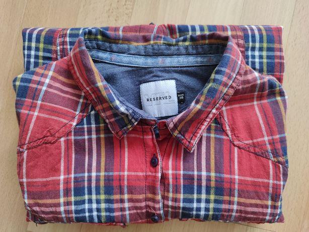 Koszula Reserved 36 S w czerwoną kratę z podwijanymi rekawami