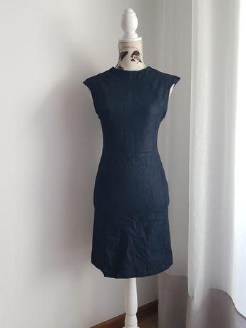OFERTA PORTES - Vestido Justo de Ganga Escura da Zara (Tamanho S)