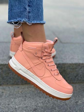 Nike air force женские высокие кроссовки пудра