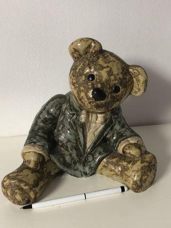 Stara ceramika kolekcjonerska figurka miś niedźwiadek 21 cm