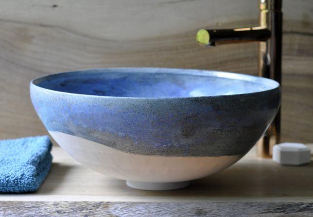 Umywalka ceramiczna nablatowa wykonana ręcznie - Jesienny niebieski