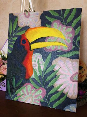 Картина маслом «Тукан» (холст, масло, живопись)