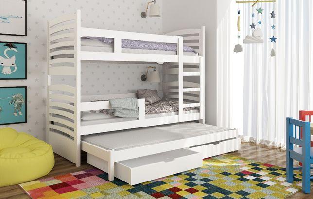 Łóżko Piętrowe 3 osobowe Olek ! Barierka szuflady materace w zestawie!