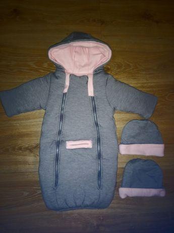 Śpiworek niemowlęcy plus dwie czapeczki