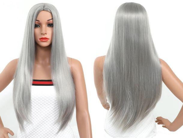 Peruka długa prosta cosplay włosy szara srebrna 76cm Billie Eilish