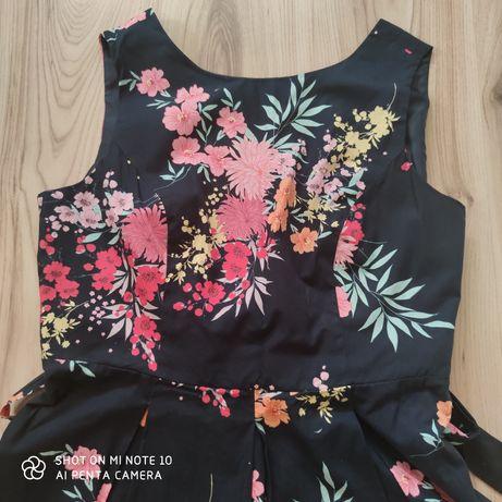 Sukienka granatowa w kwiaty 44