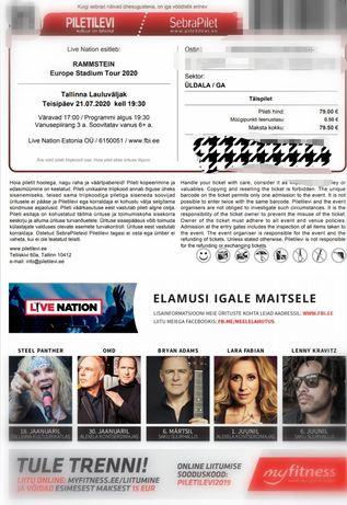 Билет на Rammstain 2022 в Таллине
