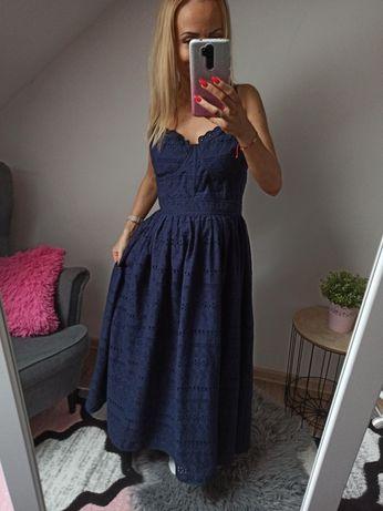 Granatowa ażurowa sukienke ASOS rozmiar 44 XXL