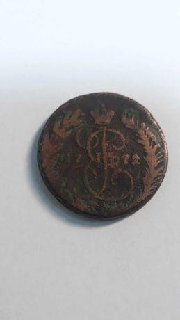 Медная монета 2 копейки 1772 года