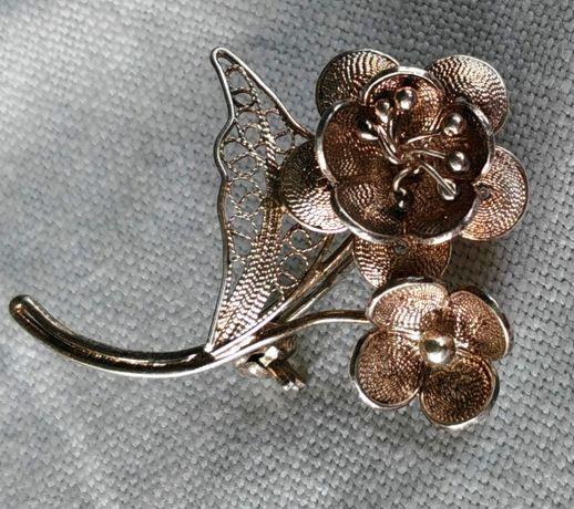 Брошь винтажная брошка красивая цветочки Серебро 925 проба скань
