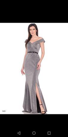 Серебряное платье со шлейфом