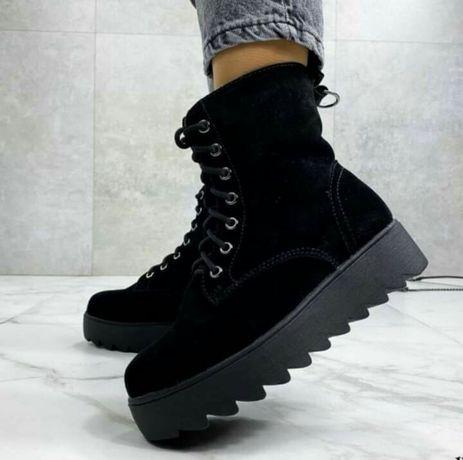 Зимние ботинки,замш