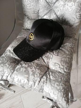 Nowa czapka MK Michael Kors mieniący się daszek satynowa góra