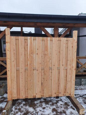 Płot drewniany,Płot szczelny,Panel ogrodowy 180x180 cm MODRZEWIOWY