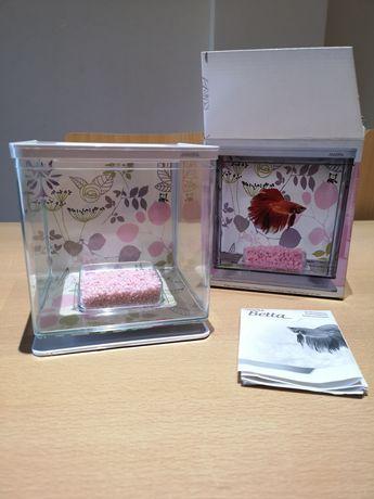 Aquário Cor de Rosa para Peixe Betta em Formato Cubo