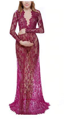 Bordowa koronkowa sukienka do sesji ciążowej M i L