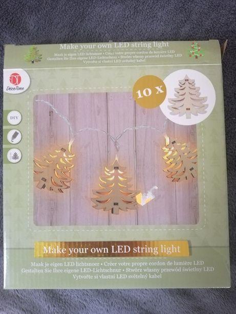 choinki drewno łańcuch led dekoracje świąteczne