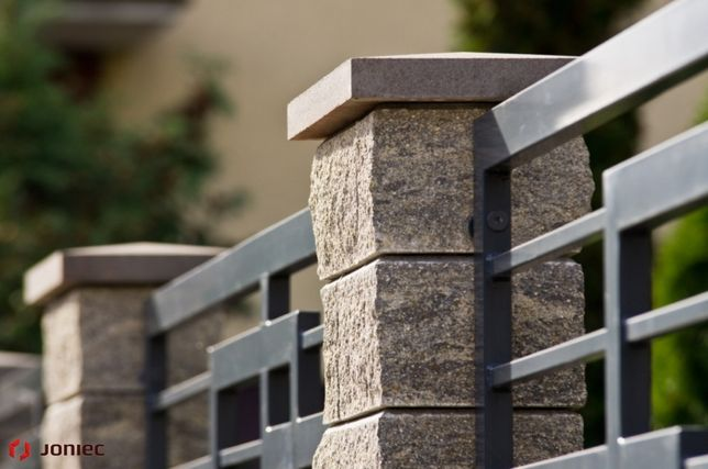 OGRODZENIE ŁUPANE betonowe JONIEC bloczek słupkowy łupany