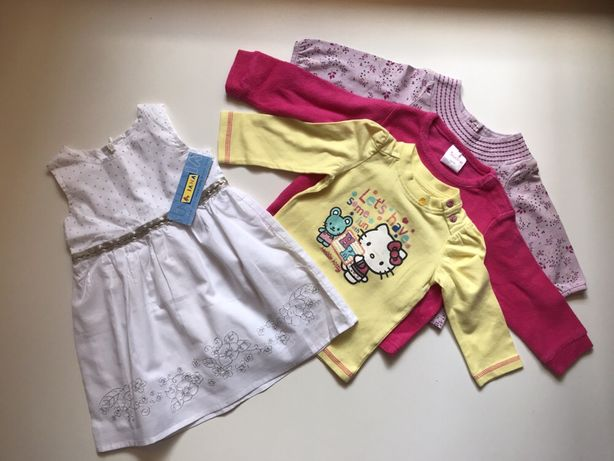 Набор НОВЫХ вещей на девочку 3-6 мес.( 62-68см): платье, кофточки
