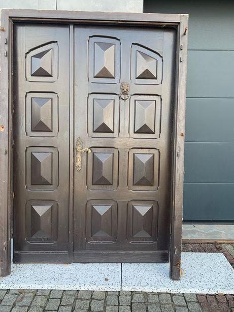 Drzwi zewnętrzne dębowe - pełny dąb
