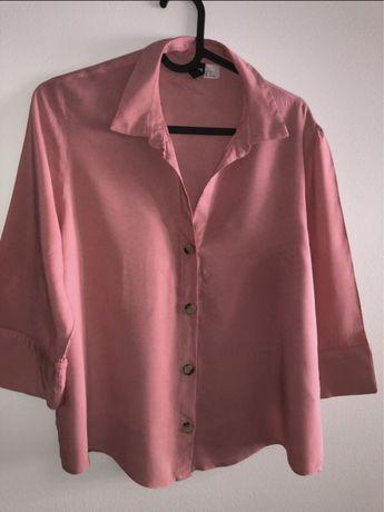 Różowa koszula z dekoltem i krótkim rękawem H&M rozmiar 32